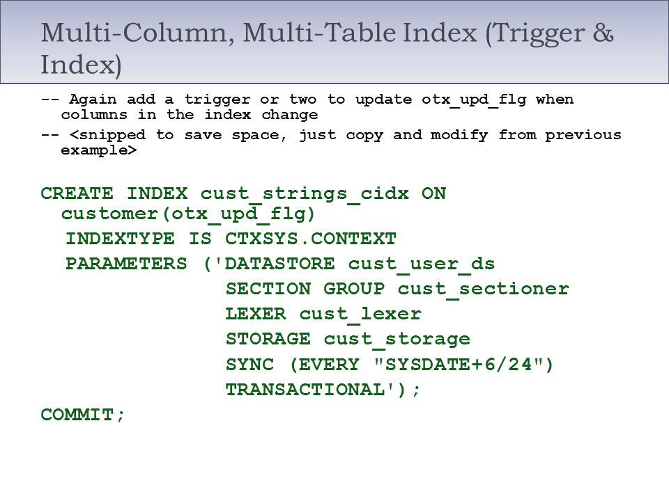 Multi-Column, Multi-Table Index (Trigger & Index)