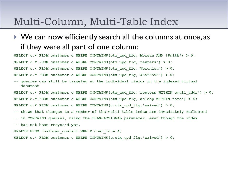 Multi-Column, Multi-Table Index