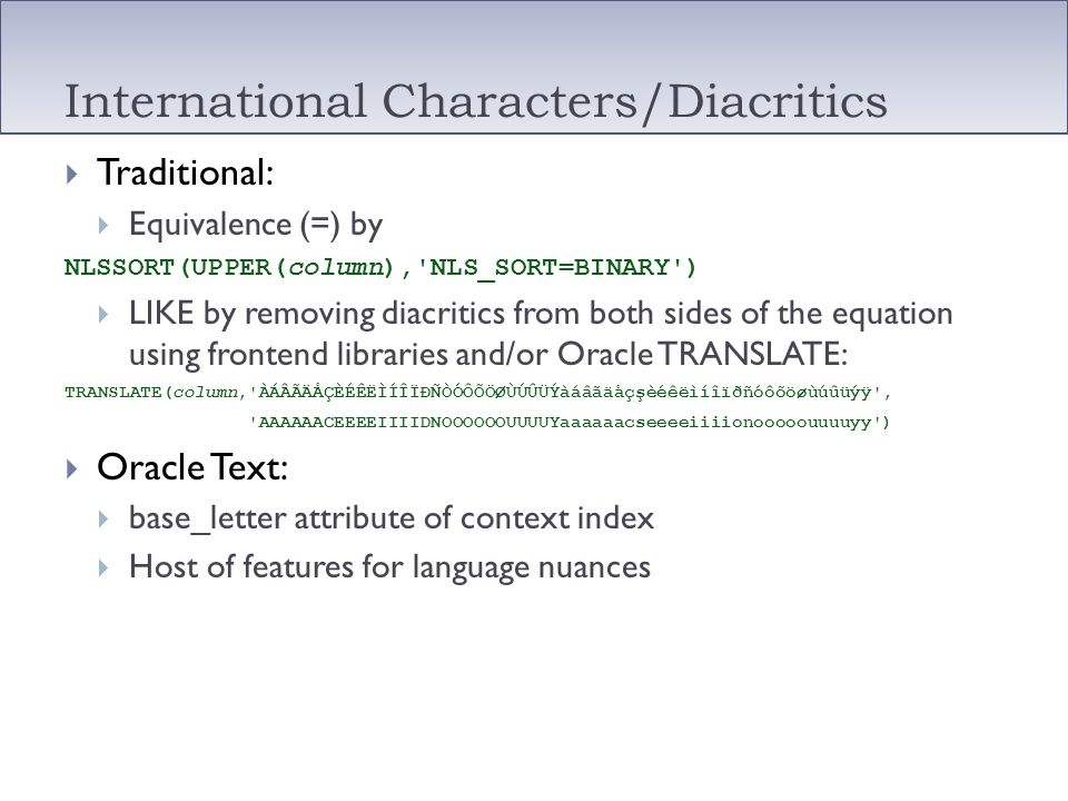 International Characters/Diacritics