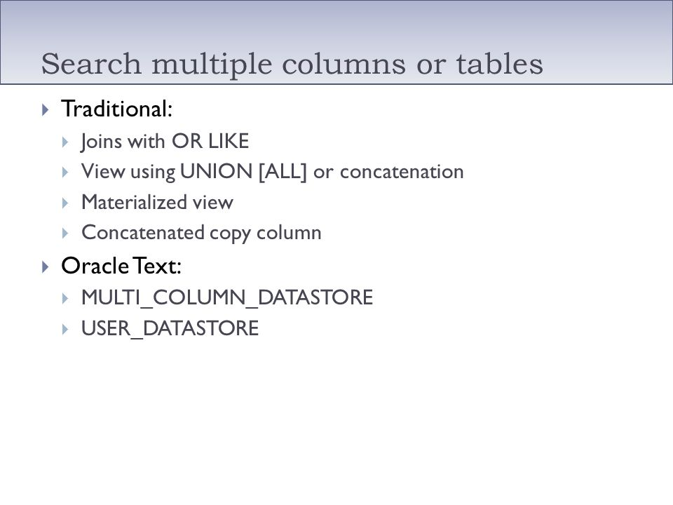 Search multiple columns or tables