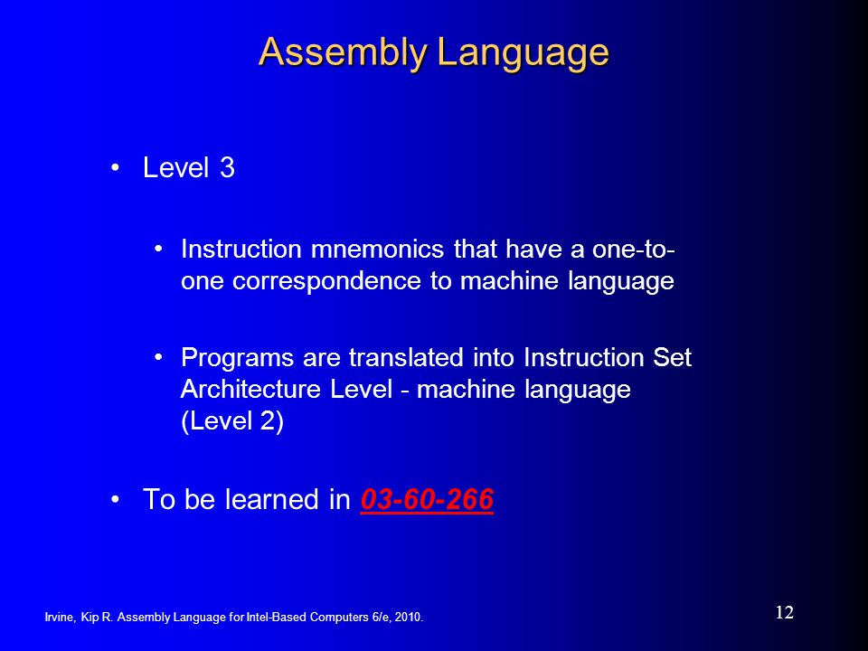 Assembly Language Level 3 To be learned in 03-60-266