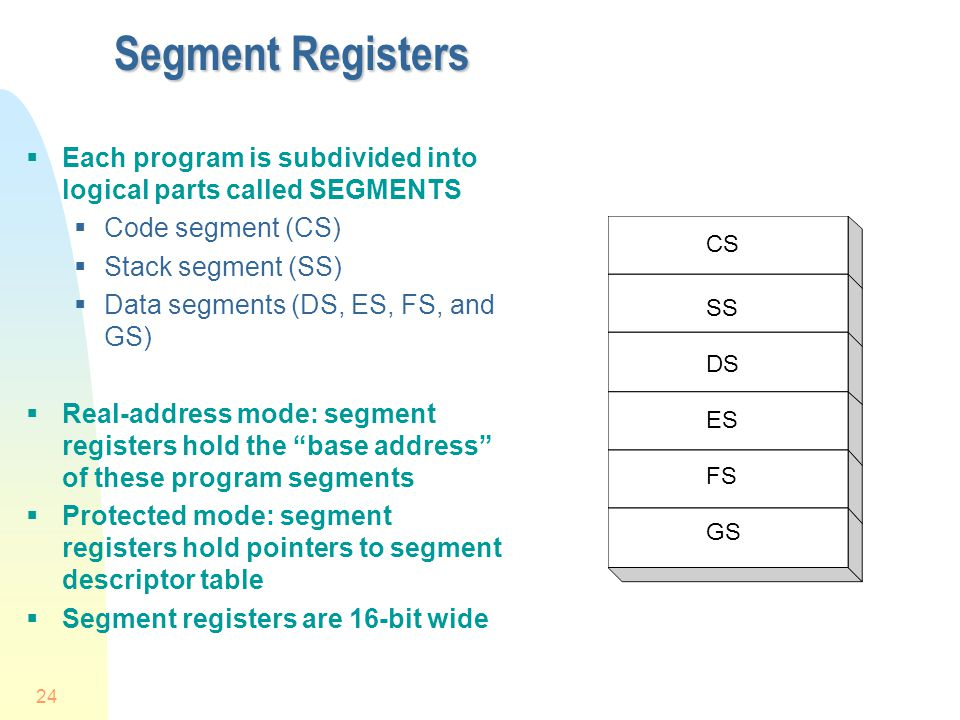 4/1/2017 Segment Registers. Each program is subdivided into logical parts called SEGMENTS. Code segment (CS)