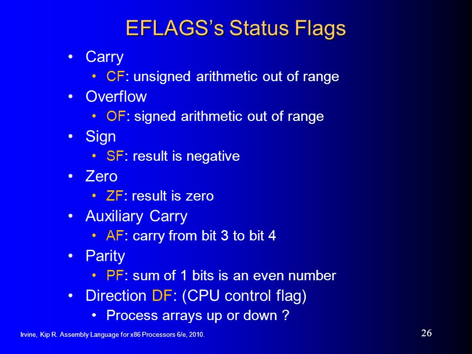 EFLAGS's Status Flags Carry Overflow Sign Zero Auxiliary Carry Parity
