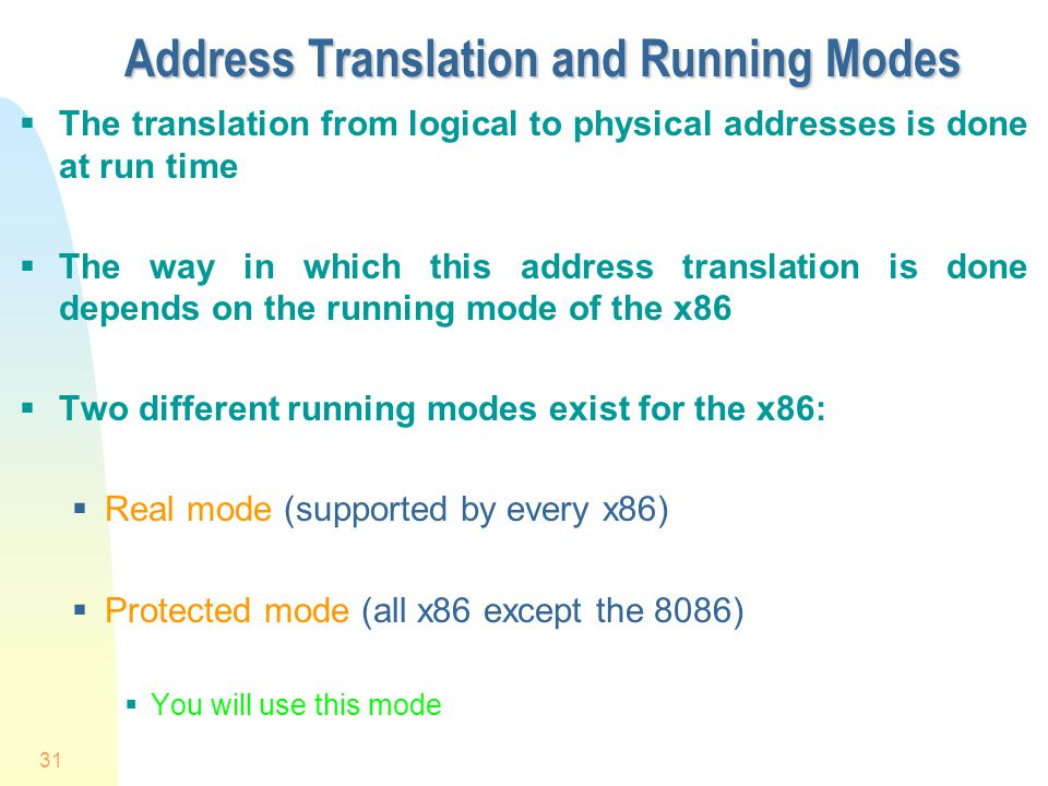 Address Translation and Running Modes