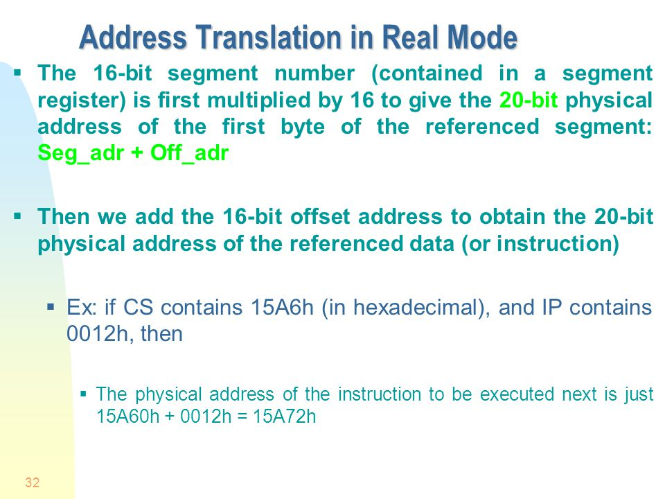 Address Translation in Real Mode