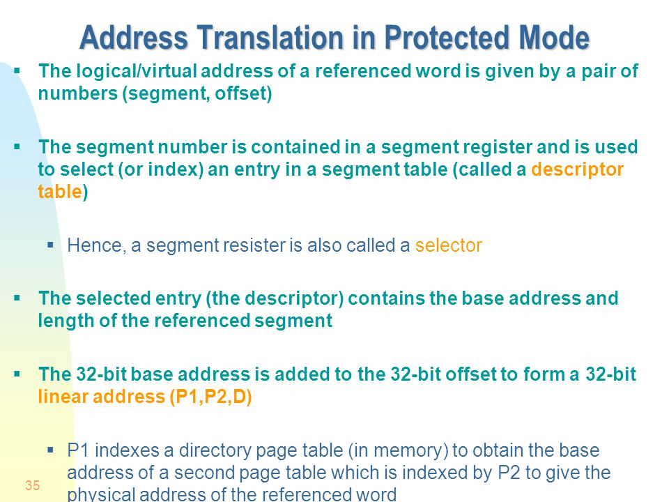 Address Translation in Protected Mode