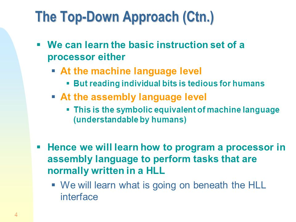 The Top-Down Approach (Ctn.)