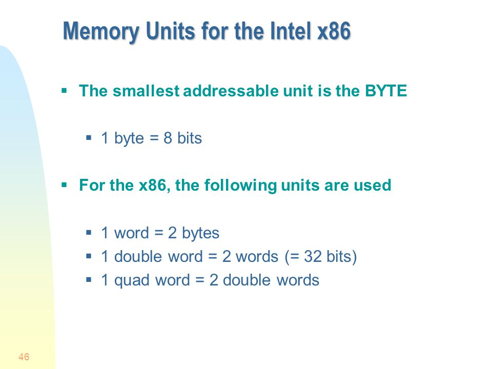 Memory Units for the Intel x86