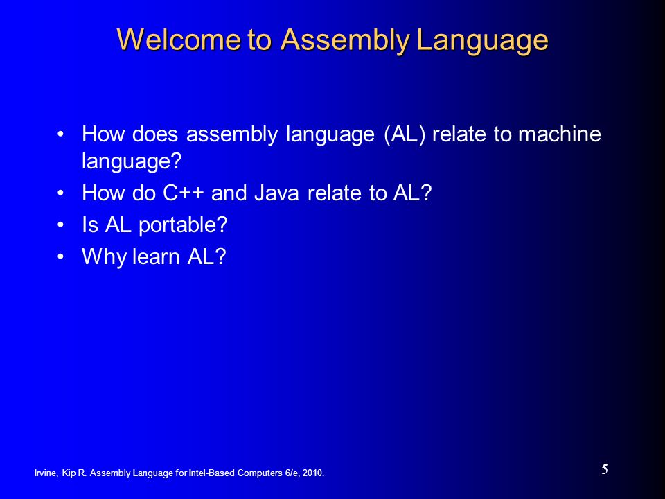 Welcome to Assembly Language