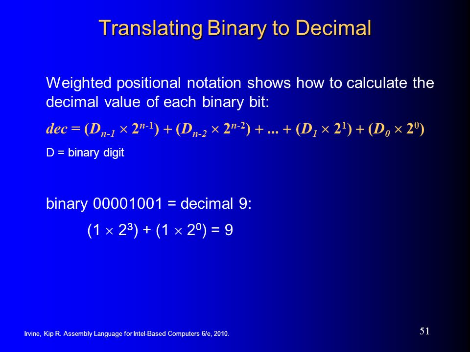 Translating Binary to Decimal