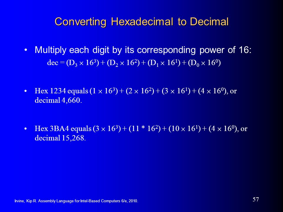 Converting Hexadecimal to Decimal