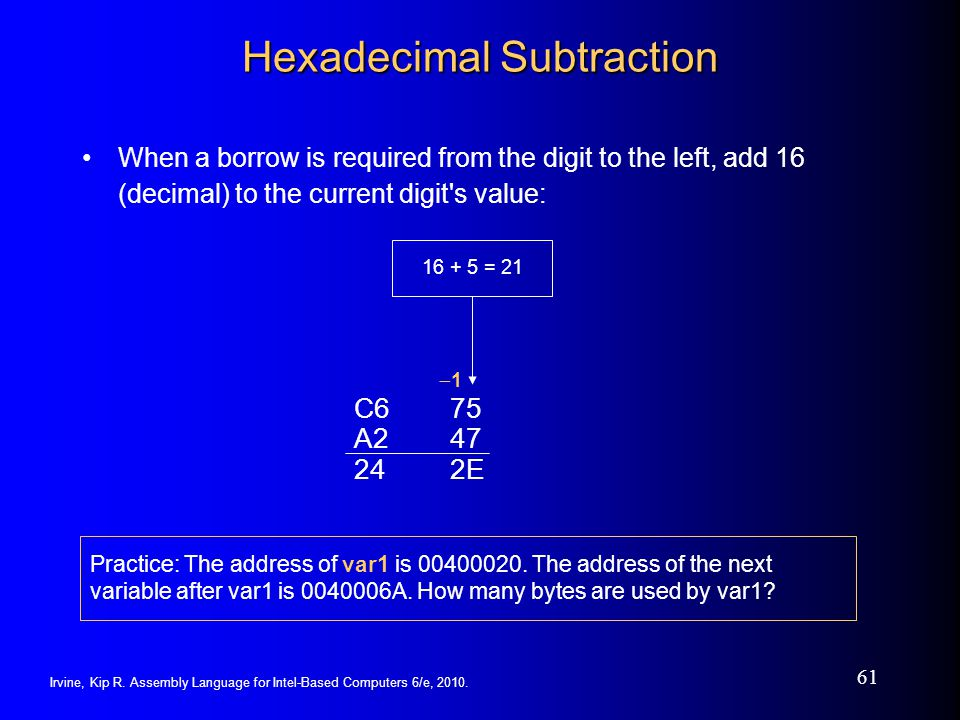 Hexadecimal Subtraction
