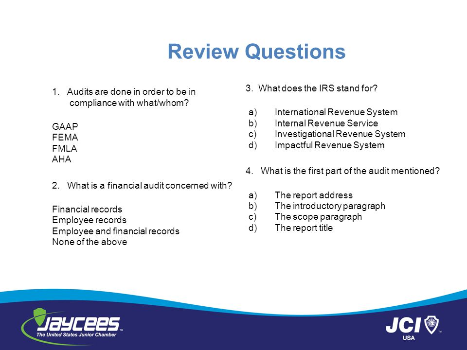 Review Questions 3. What does the IRS stand for