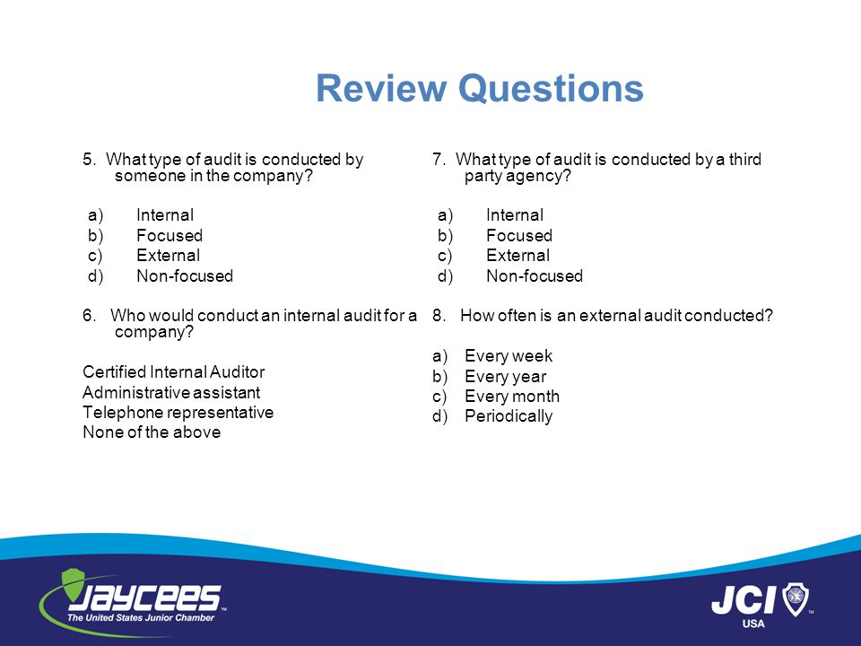 Review Questions 5. What type of audit is conducted by someone in the company Internal. Focused.