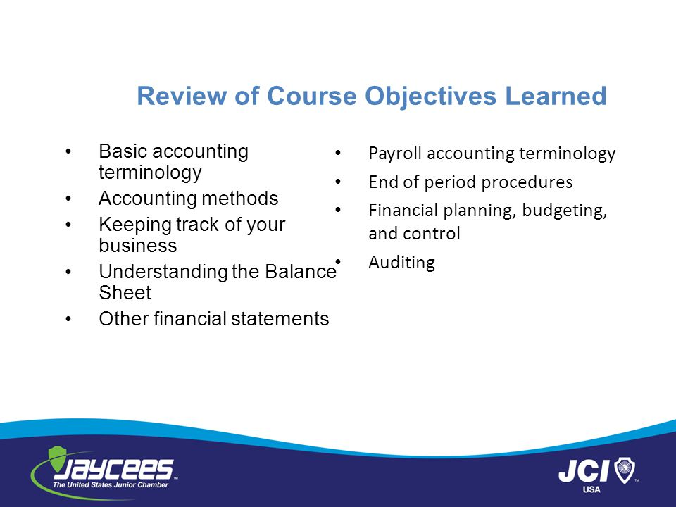 Review of Course Objectives Learned