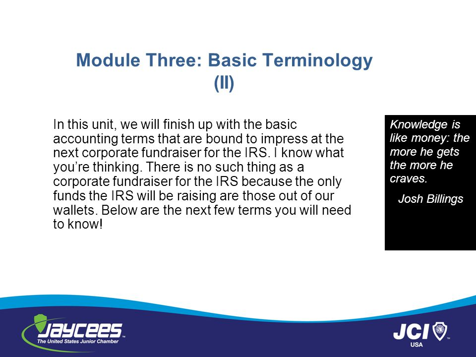 Module Three: Basic Terminology (II)