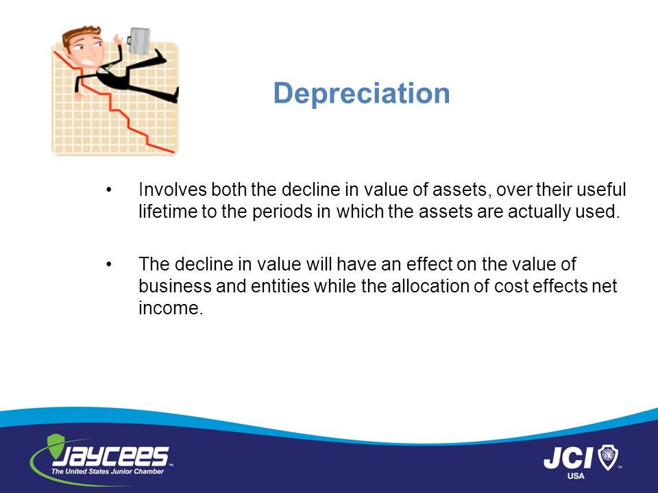 Depreciation Involves both the decline in value of assets, over their useful lifetime to the periods in which the assets are actually used.