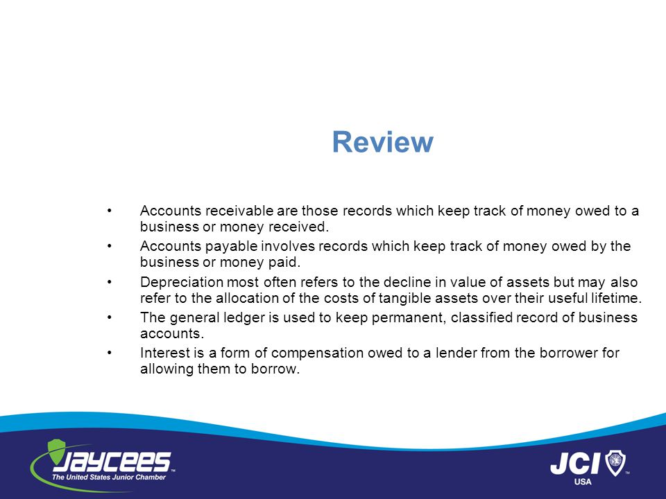 Review Accounts receivable are those records which keep track of money owed to a business or money received.