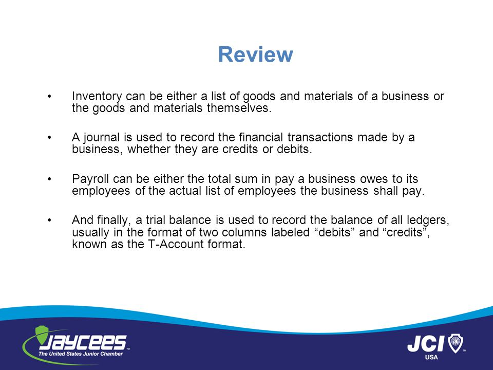 Review Inventory can be either a list of goods and materials of a business or the goods and materials themselves.