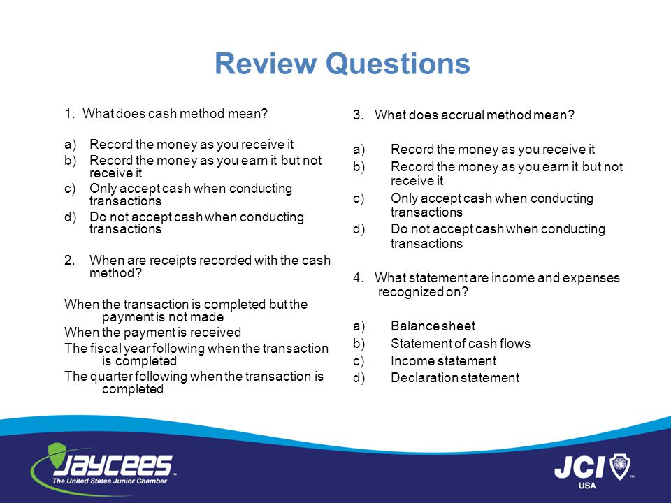 Review Questions 1. What does cash method mean
