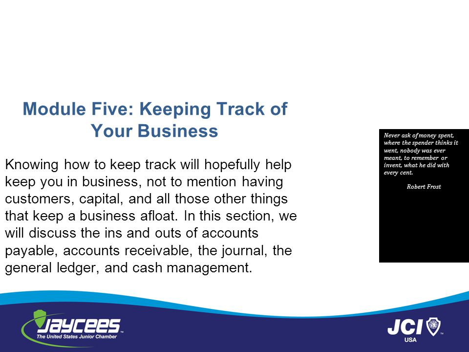 Module Five: Keeping Track of Your Business