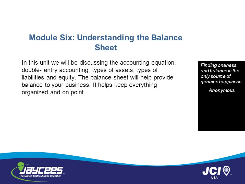 Module Six: Understanding the Balance Sheet