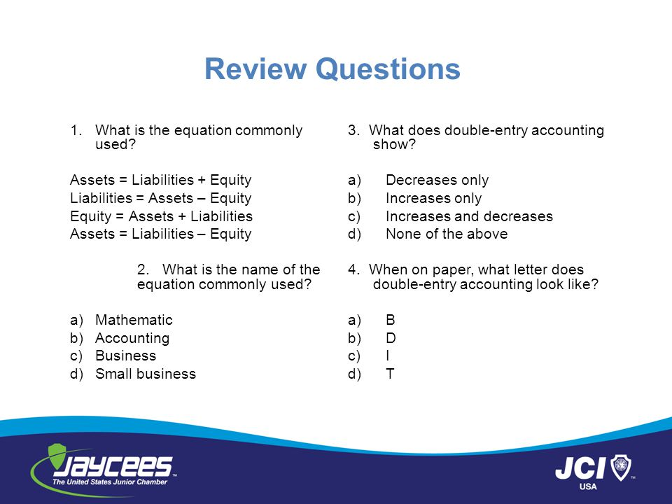 Review Questions 1. What is the equation commonly used