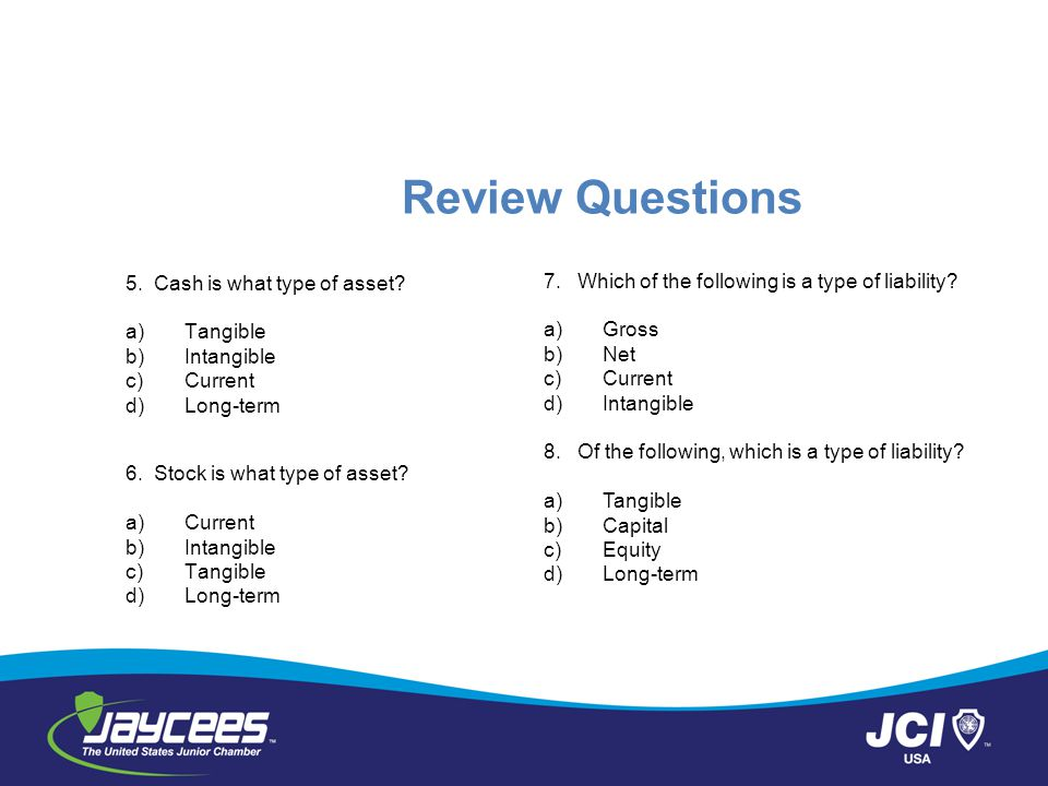 Review Questions 5. Cash is what type of asset