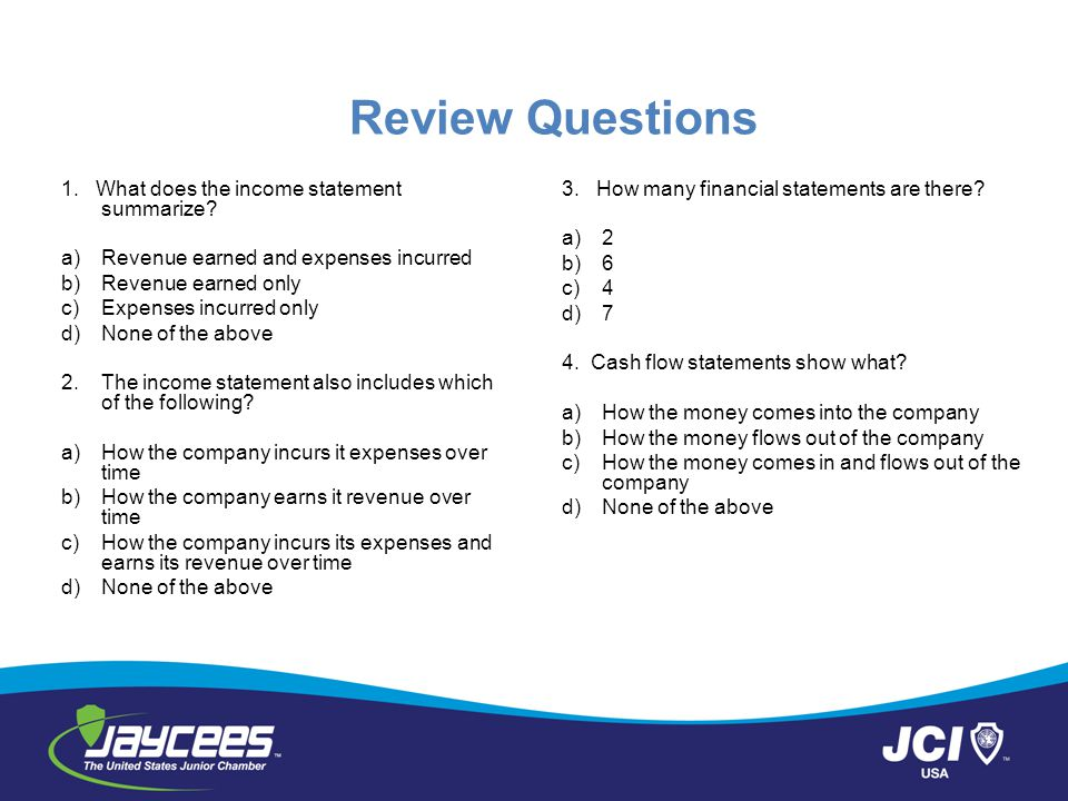 Review Questions 1. What does the income statement summarize