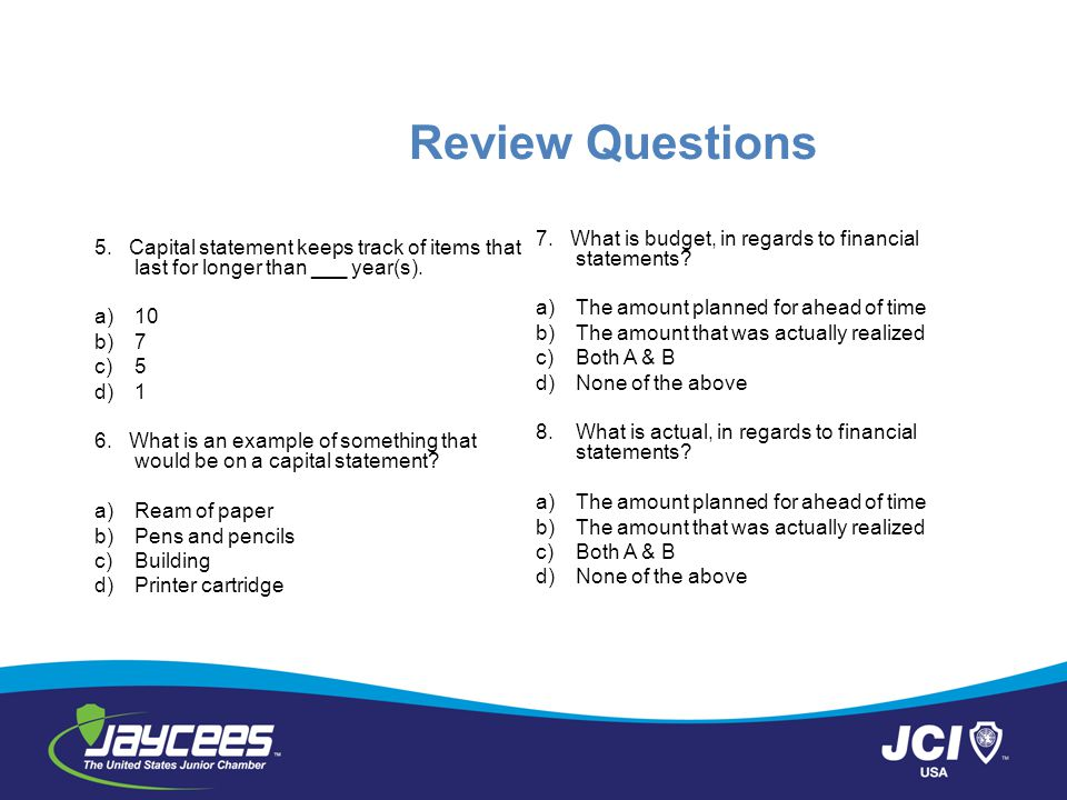 Review Questions 7. What is budget, in regards to financial statements The amount planned for ahead of time.