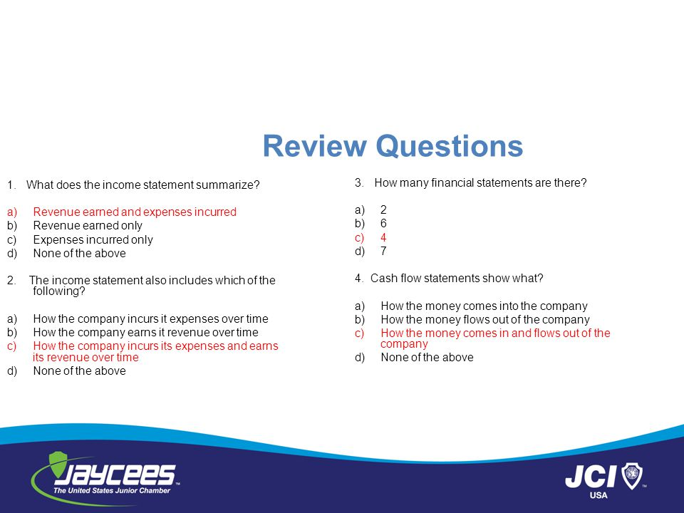 Review Questions 3. How many financial statements are there
