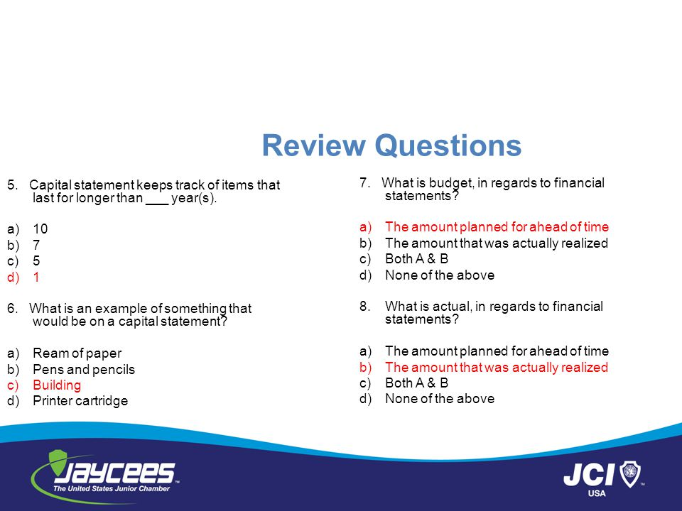 Review Questions 5. Capital statement keeps track of items that last for longer than ___ year(s).
