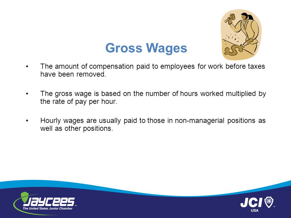 Gross Wages The amount of compensation paid to employees for work before taxes have been removed.