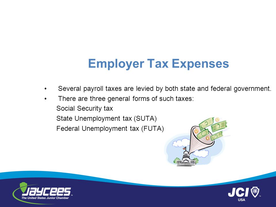 Employer Tax Expenses Several payroll taxes are levied by both state and federal government. There are three general forms of such taxes: