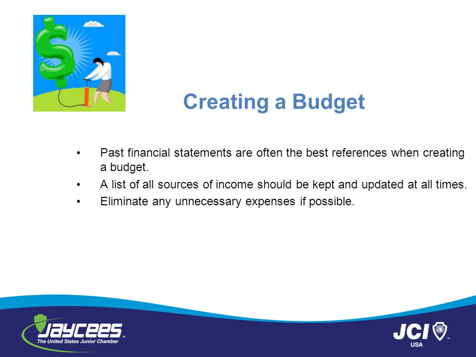 Creating a Budget Past financial statements are often the best references when creating a budget.