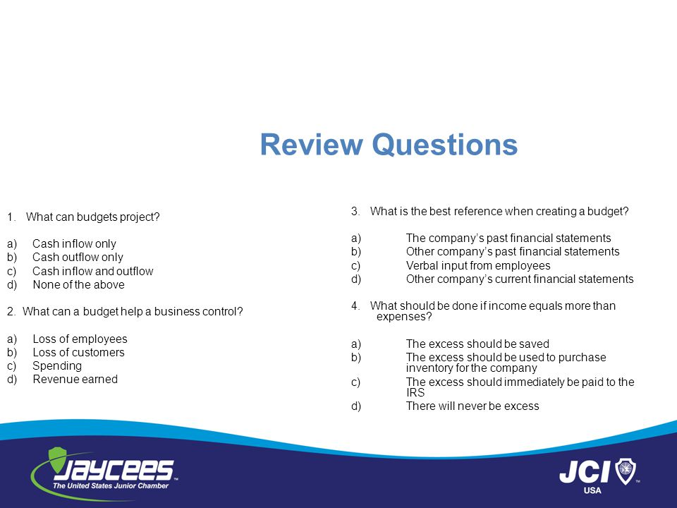 Review Questions 3. What is the best reference when creating a budget