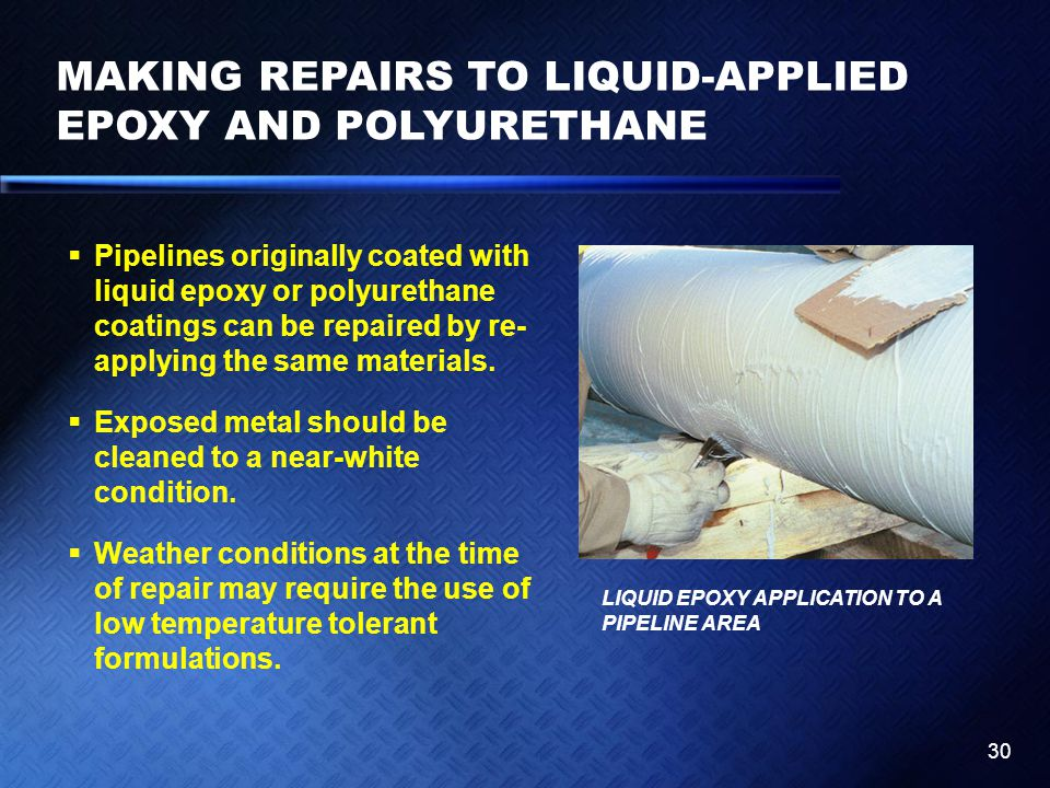 MAKING REPAIRS TO LIQUID-APPLIED EPOXY AND POLYURETHANE