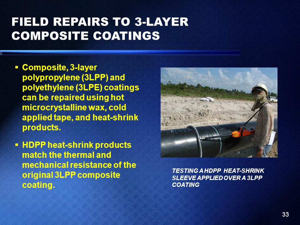 FIELD REPAIRS TO 3-LAYER COMPOSITE COATINGS