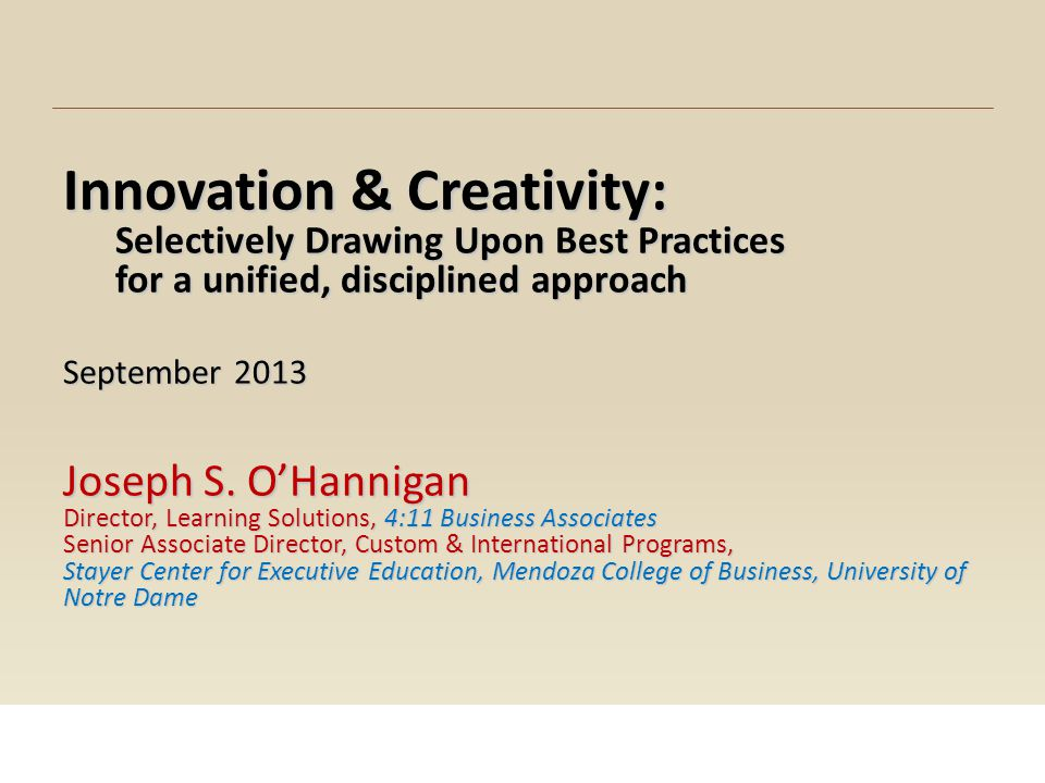 Innovation & Creativity: