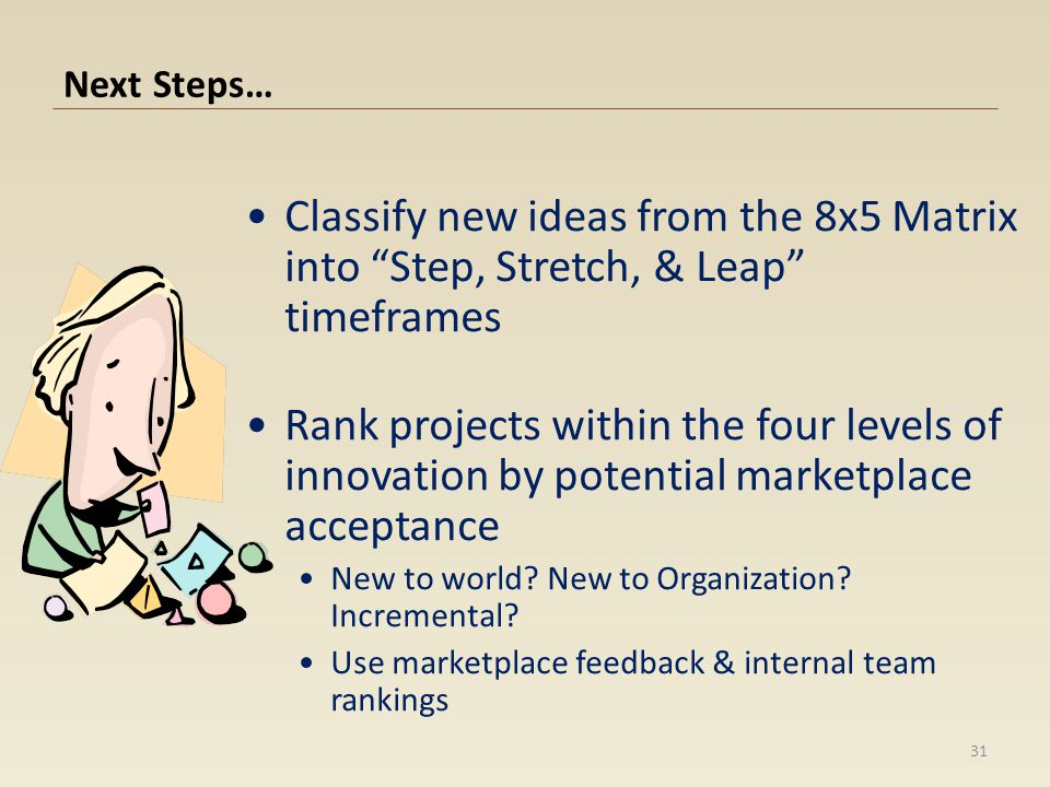Next Steps… Classify new ideas from the 8x5 Matrix into Step, Stretch, & Leap timeframes.