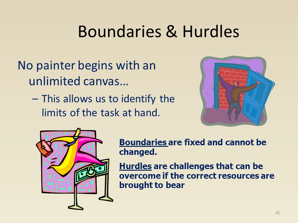 Boundaries & Hurdles No painter begins with an unlimited canvas…