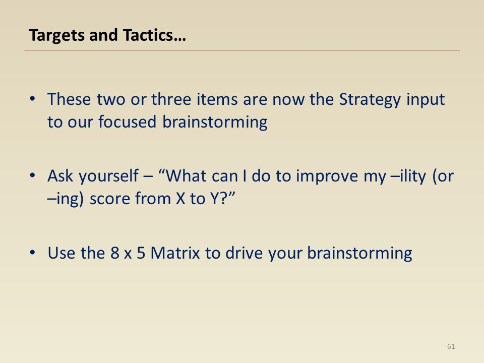 Targets and Tactics… These two or three items are now the Strategy input to our focused brainstorming.