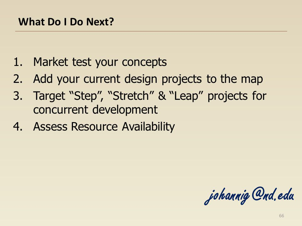 johannig@nd.edu What Do I Do Next Market test your concepts