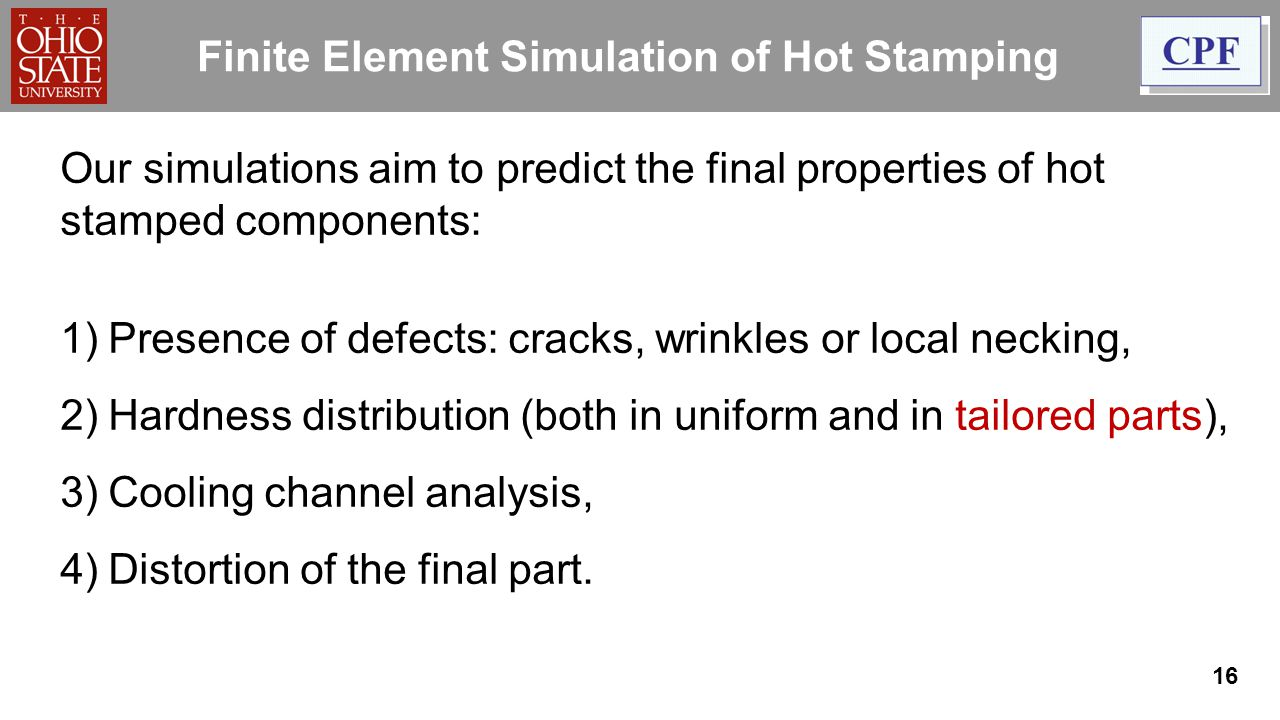 Finite Element Simulation of Hot Stamping