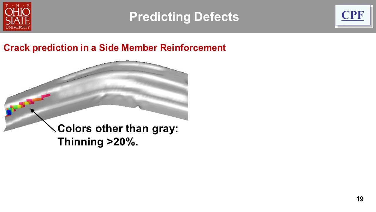Predicting Defects Colors other than gray: Thinning >20%.