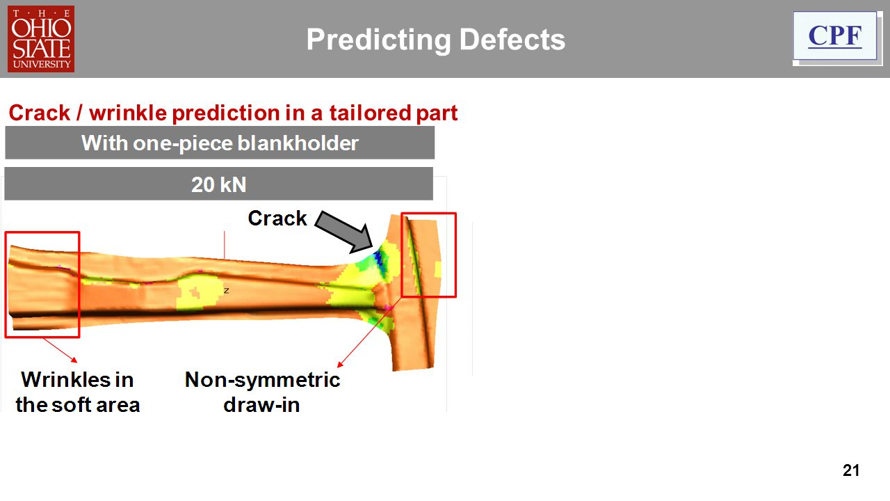 Predicting Defects Crack / wrinkle prediction in a tailored part