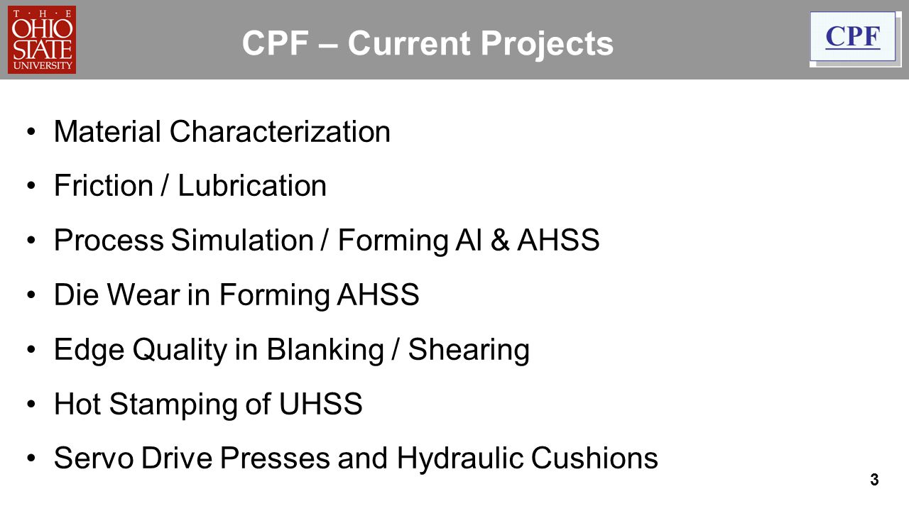 CPF – Current Projects Material Characterization