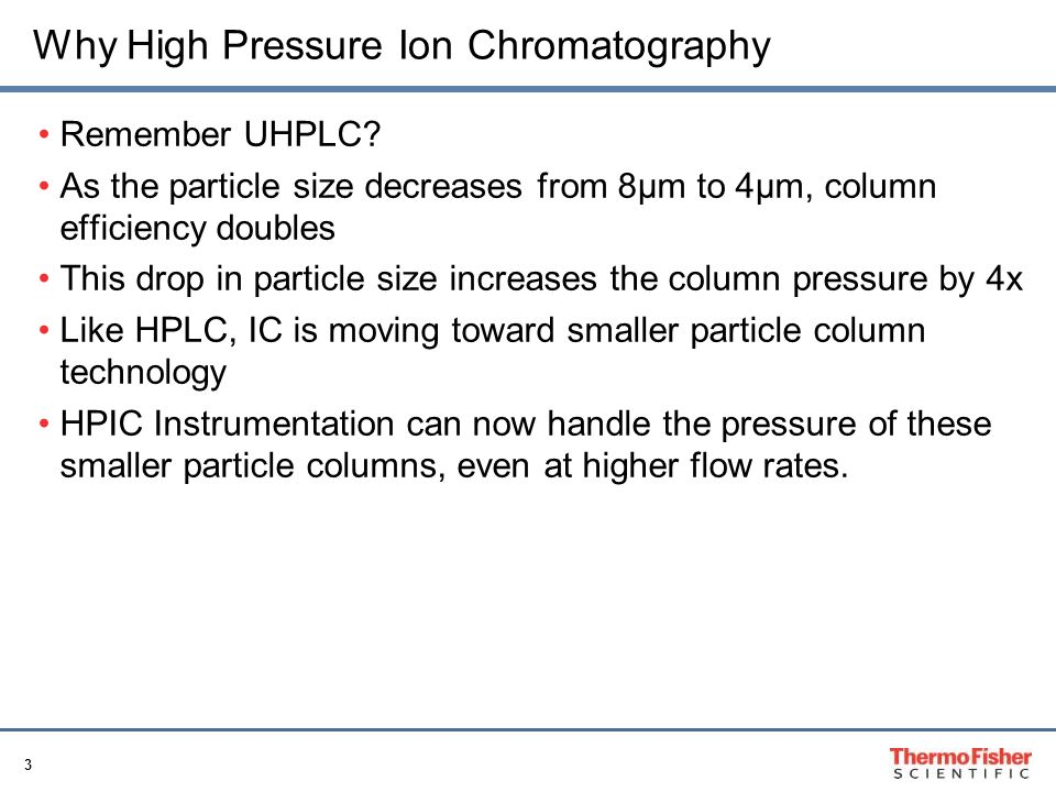 Why High Pressure Ion Chromatography