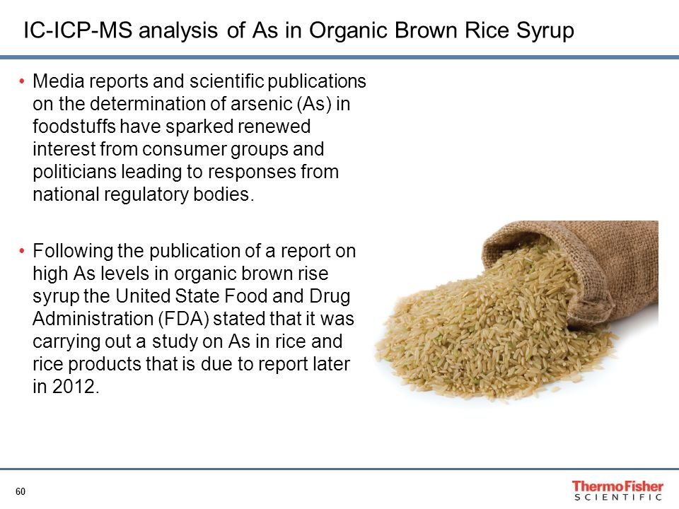 IC-ICP-MS analysis of As in Organic Brown Rice Syrup