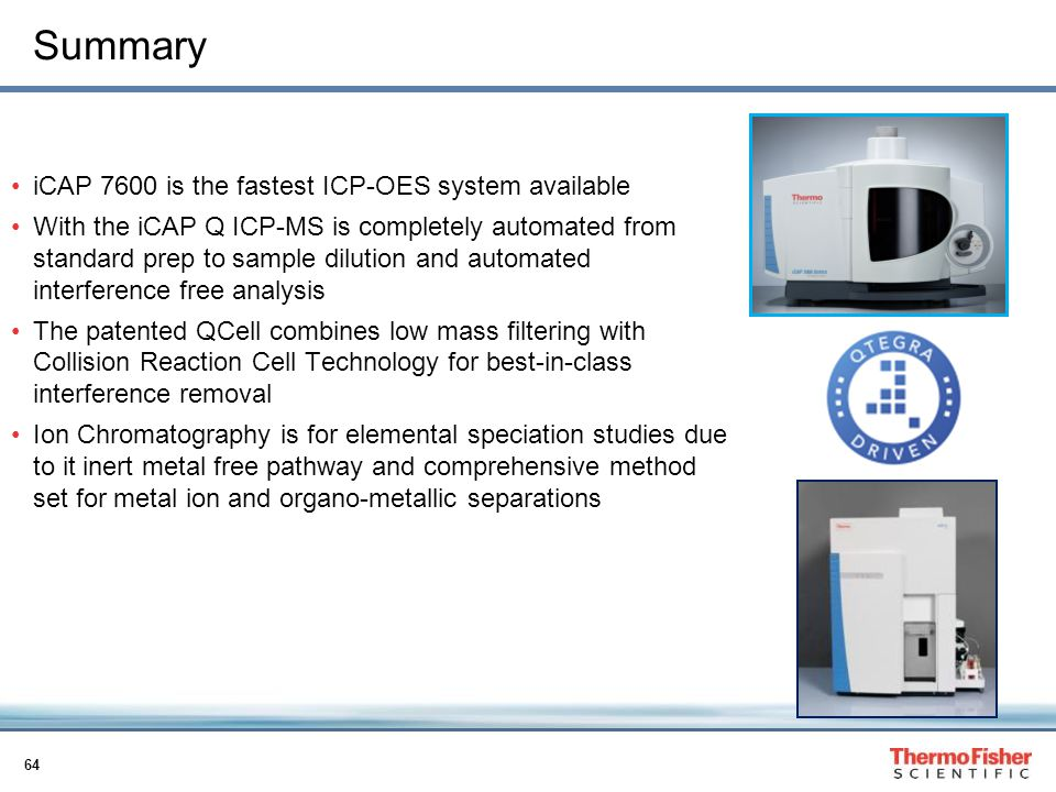 Summary iCAP 7600 is the fastest ICP-OES system available